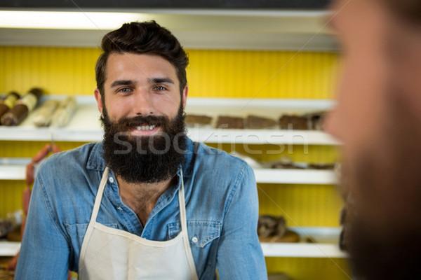 Mosolyog férfi személyzet áll hús bolt Stock fotó © wavebreak_media