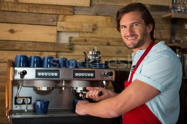 Barista kahvehane adam mutlu çalışmak Stok fotoğraf © wavebreak_media