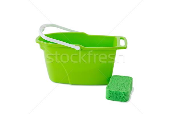 Közelkép zöld vödör takarítás szivacs fekete Stock fotó © wavebreak_media