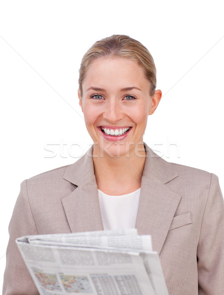 Vrouwelijke uitvoerende gevouwen armen business papier Stockfoto © wavebreak_media
