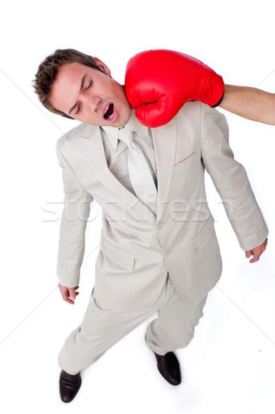 Młodych biznesmen rękawica bokserska odizolowany biały sportu Zdjęcia stock © wavebreak_media