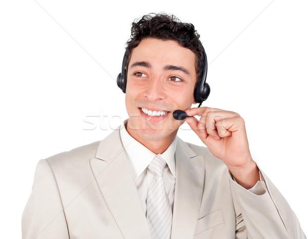 étnicas jóvenes empresario auricular aislado blanco Foto stock © wavebreak_media