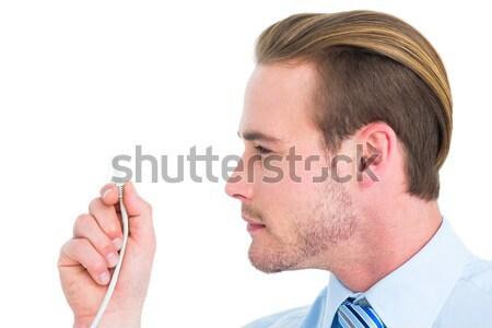 портрет зрелый бизнесмен телефон изолированный белый Сток-фото © wavebreak_media