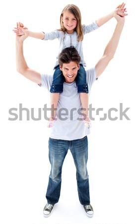 Atraente pai filha piggyback crianças feliz Foto stock © wavebreak_media