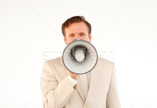 Volwassen zakenman aankondiging megafoon naar Stockfoto © wavebreak_media
