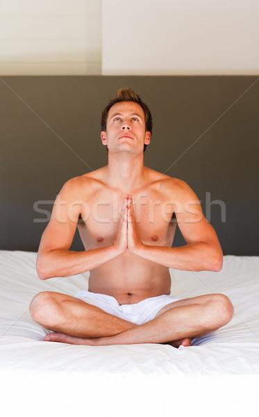 духовных кровать привлекательный спорт тело Сток-фото © wavebreak_media