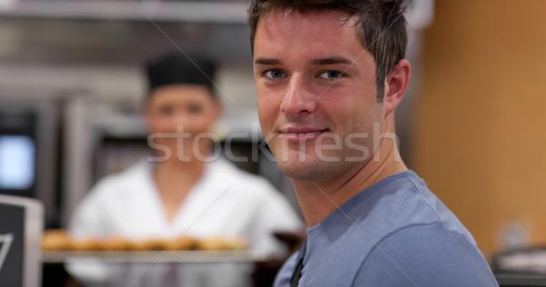 Yakışıklı erkek müşteri fırın kadın fırıncı Stok fotoğraf © wavebreak_media