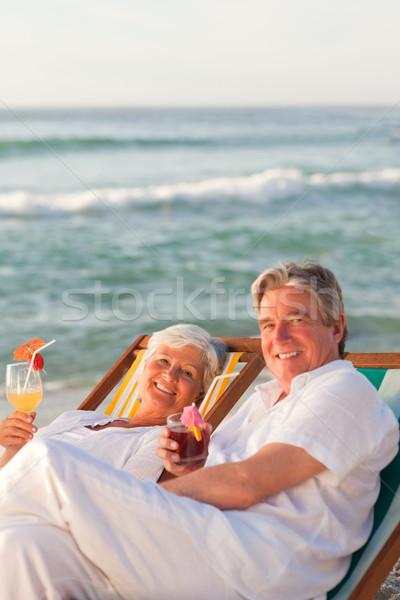 Aposentados casal potável coquetel mulher água Foto stock © wavebreak_media