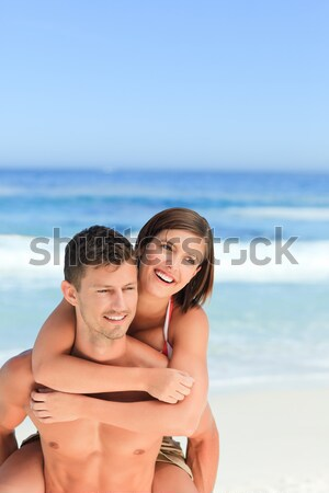 Gelukkig liefhebbers strand vrouw model zomer Stockfoto © wavebreak_media