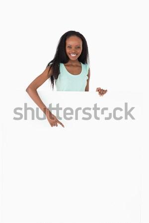 Gülümseyen kadın kart beyaz mutlu Stok fotoğraf © wavebreak_media