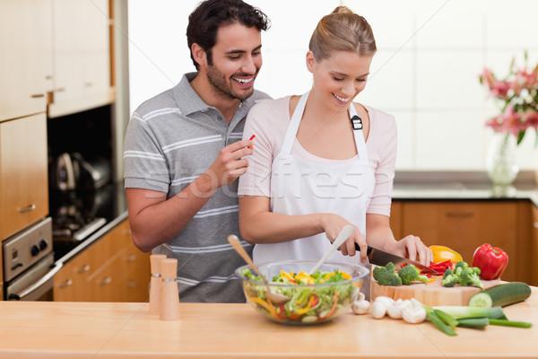 пару овощей кухне любви счастливым Сток-фото © wavebreak_media
