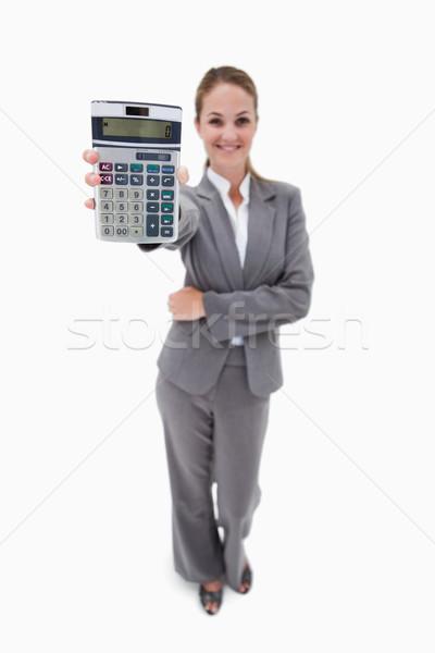 Zdjęcia stock: Uśmiechnięty · banku · pracownika · kieszeni · Kalkulator