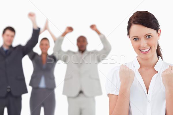 Foto stock: Empresária · equipe · atrás · branco · feliz