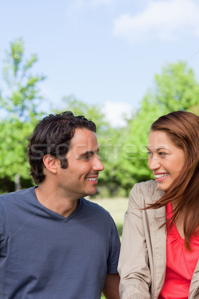 Two friends smiling as they happily look into each others eyes while sitting in a bright park Stock photo © wavebreak_media