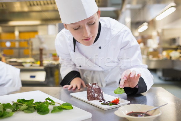 Chef putting mint with her chocolate cake in the kitchen Stock photo © wavebreak_media