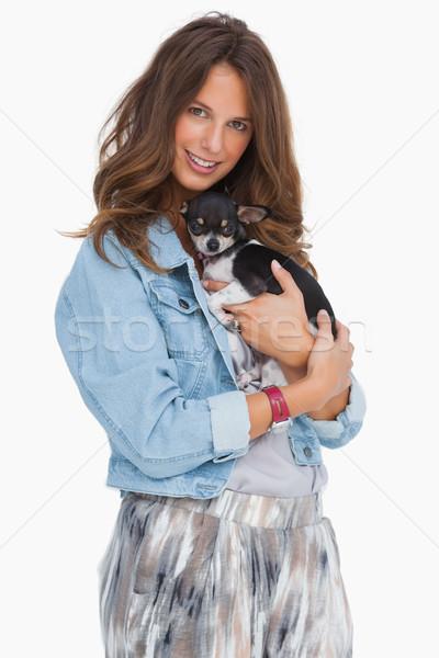 Pretty woman with her puppy Stock photo © wavebreak_media