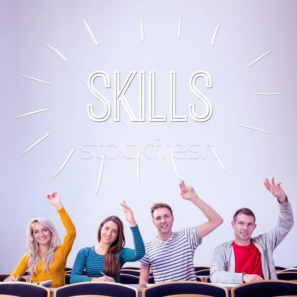Habilidades faculdade estudantes mãos sala de aula palavra Foto stock © wavebreak_media