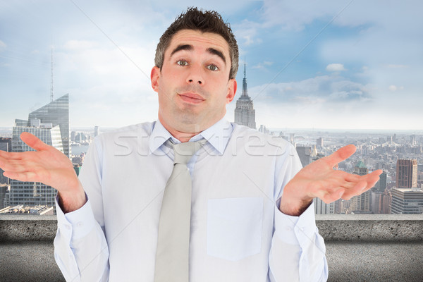 összetett kép tanácstalan irodai dolgozó pózol erkély Stock fotó © wavebreak_media