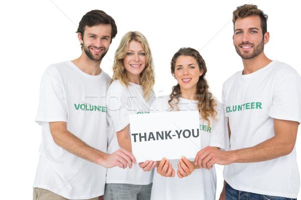 Portré boldog önkéntesek tart köszönjük tábla Stock fotó © wavebreak_media