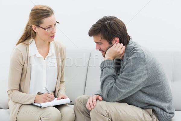молодым человеком заседание психолог служба женщину связи Сток-фото © wavebreak_media