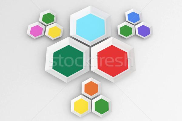 Hatszög formák fehér Stock fotó © wavebreak_media