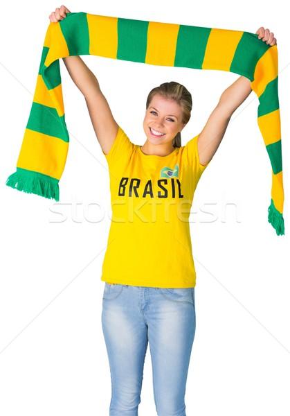 Boldog futball ventillátor Brazília póló fehér Stock fotó © wavebreak_media