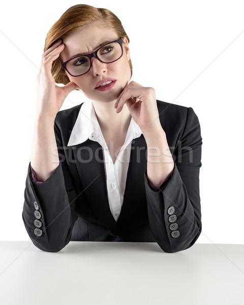 Pensando mujer de negocios mirando perplejo blanco Foto stock © wavebreak_media