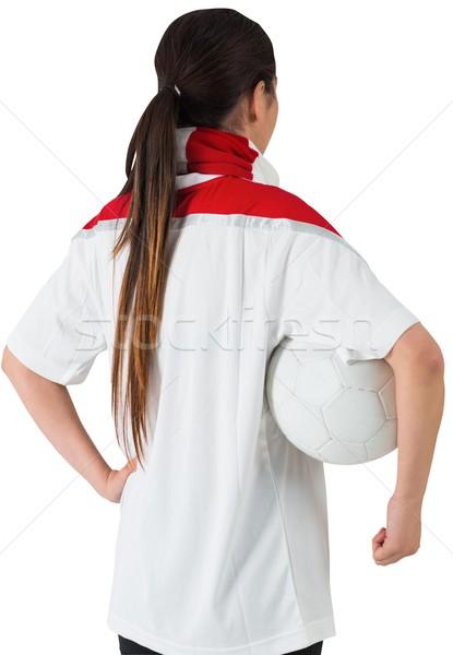 Futball ventillátor fehér tart labda piros Stock fotó © wavebreak_media
