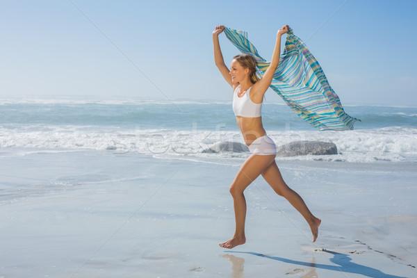 Káprázatos fitt szőke nő fut tenger sál Stock fotó © wavebreak_media