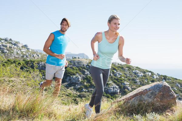 フィット カップル ジョギング 海 ストックフォト © wavebreak_media