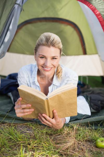 Stock fotó: Vonzó · boldog · szőke · nő · sátor · tart · könyv