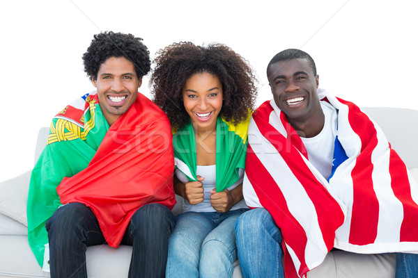 Zdjęcia stock: Szczęśliwy · piłka · nożna · fanów · flagi · uśmiechnięty · kamery