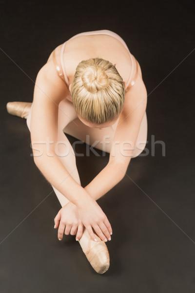 Ballerina ül görbület előre balett stúdió Stock fotó © wavebreak_media