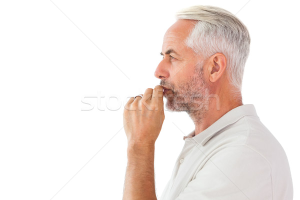 Man staying silent with finger on lips Stock photo © wavebreak_media