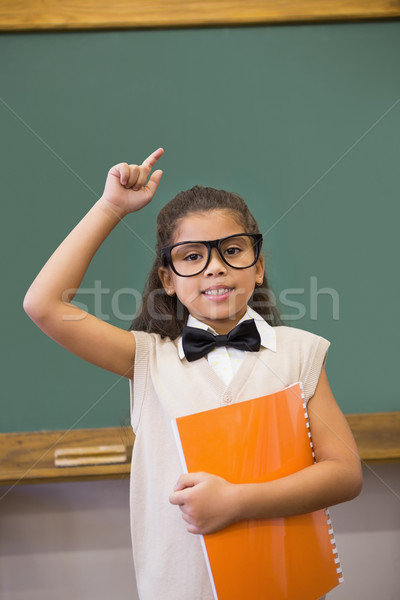 Sevimli yukarı öğretmen sınıf el Stok fotoğraf © wavebreak_media
