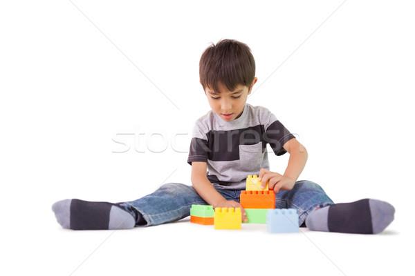 счастливым мало мальчика играет блоки белый Сток-фото © wavebreak_media