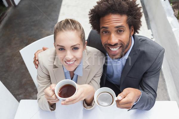 Gelukkig zakenlieden lunch buiten coffeeshop man Stockfoto © wavebreak_media