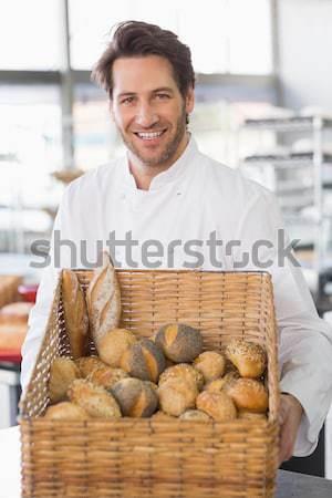 Bakker tonen mand brood keuken bakkerij Stockfoto © wavebreak_media