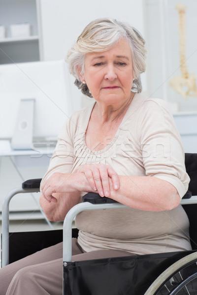 Сток-фото: печально · старший · пациент · сидят · коляске