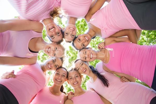 Glimlachend vrouwen evenement borstkanker bewustzijn Stockfoto © wavebreak_media