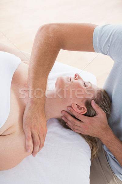 Stock photo: Woman receiving neck massage