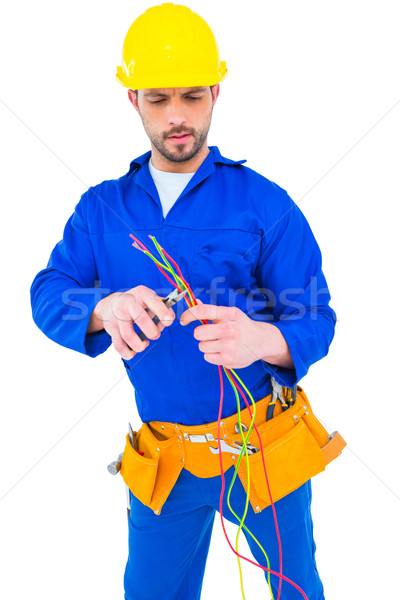 Electrician cutting wire with pliers Stock photo © wavebreak_media
