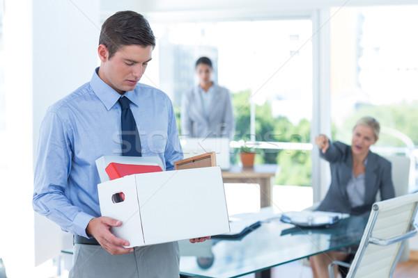 üzletember hordoz doboz nő szomorú öltöny Stock fotó © wavebreak_media