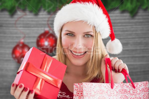 összetett kép nő mosolyog karácsony vásárlás akasztás Stock fotó © wavebreak_media
