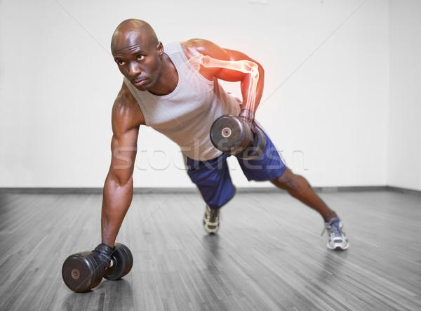 Kar erős férfi emel súlyok digitális kompozit Stock fotó © wavebreak_media