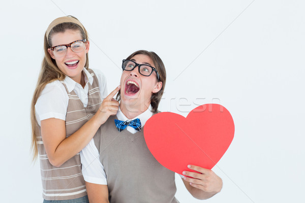 Excited geeky hipster and his girlfriend  Stock photo © wavebreak_media