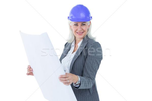 Işkadını kask beyaz iş kadın Stok fotoğraf © wavebreak_media