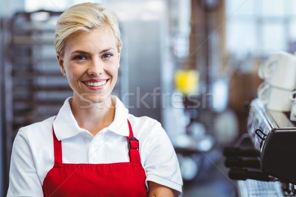 Mooie barista glimlachend camera cafe business Stockfoto © wavebreak_media
