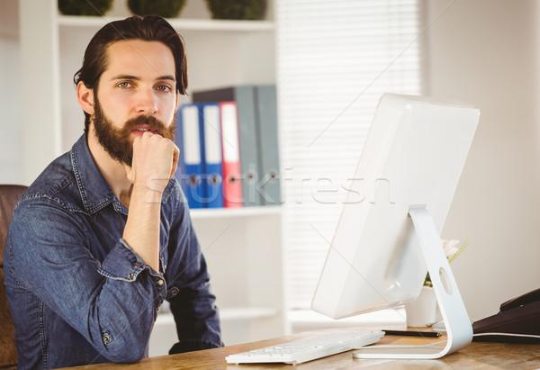 Empresário trabalhando secretária escritório teclado Foto stock © wavebreak_media