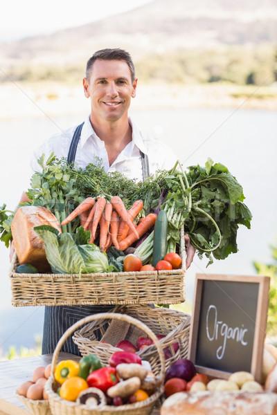 笑みを浮かべて 農家 バスケット 野菜 肖像 ストックフォト © wavebreak_media